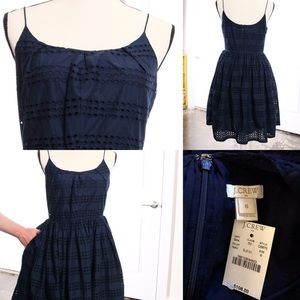 NWT J. Crew Factory Eyelet Pouf Dress with POCKETS